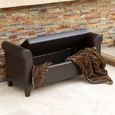 Christopher Knight Home Torino Bonded Leather Brown Armed Storage Ottoman | Overstock.com