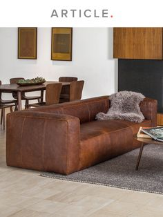 You dont have to go outside to be rugged. The Cigar rawhide sofa features a sturdy corner-blocked wooden frame and raw seams for that Marlboro-person look. This brown leather sofa is cozy in a cottage, cabin, or a condo. And the leather (the leather!) becomes more beautiful with use: subtle character markings such as insect bites, healed scars, and grain variation reflects a real vintage. Saddle up and pass the remote. Ikea Living Room, Brown Living Room, Brown And Gold Living Room, Brown Furniture Living Room, Living Room Designs, Brown Living Room Decor, Living Room Decor, Brown Sofa Living Room, Room Decor