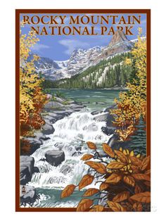 vintage estes park poster | Rocky Mountain National Park, Colorado, Lake Scene Art Print