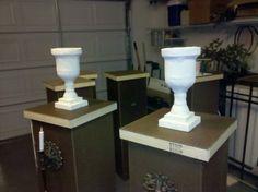urns & pillars on Halloween columns