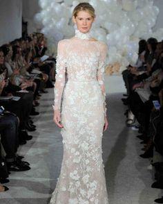 Mira Zwillinger Spring 2018 Wedding Dress Collection | Martha Stewart Weddings – Long-sleeve illusion-top wedding dress