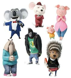 Sing freestanding Characters, Party Prop, Cut-outs, kids characters, sing props Sing Movie 2016, Sing 2016, Sing Movie Characters, Cartoon Characters, Kid Character, Character Design, Sing Cake, Disney Pixar, Dreamworks