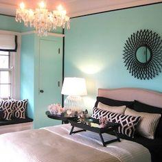 Amy Carman Design - bedrooms - Tiffany Blue, Amy Carman Design, Benjamin Moore Coastal Paradise, Crate & Barrel Colette Bed, Tiffany Blue walls, Tiffany Blue Bedroom,