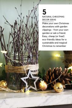 Sustainable, eco-friendly Christmas decorations made from garden clippings. So they're easy and they don't cost the earth. #christmas #backyard #garden #middlesizedgarden Christmas Jars, Green Christmas, Christmas Home, Handmade Christmas, Vintage Christmas, Christmas Crafts, Christmas Decorations, Christmas Garden, Christmas Picks