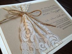 Lace and Twine Wedding Invitation, Rustic Elegance, Kraft and Ivory, Rustic Chic, Twine, Country - Josephine on Etsy, £3.90