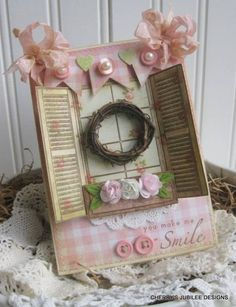 shabby chic cottage window with shutters wreath flower box YOU MAKE me SMILE stitched handmade card Cool Cards, Diy Cards, Cherries Jubilee, Shabby Chic Cards, Window Cards, Ideas Geniales, Flower Boxes, Paper Cards, Mothers Day Crafts