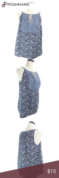 """Bandana Top Navy blue floral paisley print top with pleated chmabray yoke. Drawstring at front neckline. Armpit to armpit is 18"""" across when flat. Shoulder to hem is 26"""". Nice used condition, slight wear on drawstrings.  wt1442 Tommy Hilfiger Tops Tank Tops"""