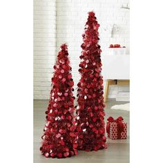 Set Of 3 And 4 Red Tinsel Sequined Christmas Trees Items