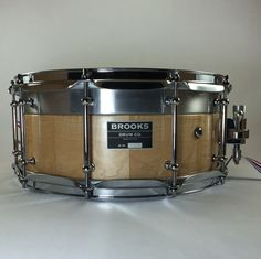 Brooks Drum Company Maple stave shell with aluminum top bearing edge.