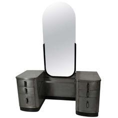 Norman Bel Geddes - Double Pedestal Mid Century Modern Metal Vanity w/ Mirror for Simmons (c1960)