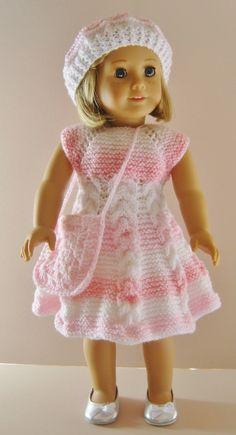 Knitting pattern available on ravelry http://www.ravelry.com/patterns/library/american-girl-doll-top-down-party-dress-set