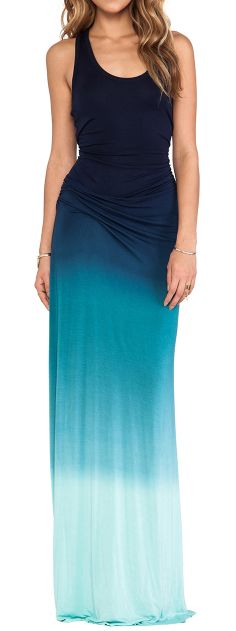 Love this dress-especially love how dark blue fades to lighter blue and the dress flows down the body.