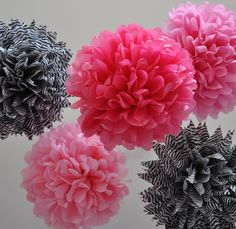 Celebrate Girls Night with a beautiful collection of shades of pink and zebra printed tissue paper poms that seems to float in an air of lightness and whimsy during ceremonies and receptions alike.    Hang from ceilings, chandeliers, trees at outdoor weddings + bridal + baby showers + graduations...