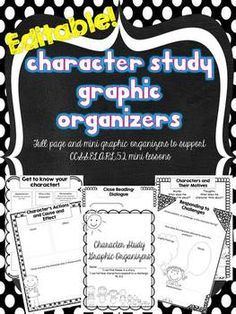 "This is a set of 13 editable graphic organizers to support a character study for Common Core Standard RL5.2: ""Determine a theme of a story...from details in the text, including how characters in a story... respond to challenges or how the speaker in a poem reflects upon a topic.""  These organizers keep students focused on reading closely for a character's words, thoughts and actions."