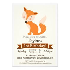 Woodland Fox, Forest Animal Kid's Birthday Party Cards