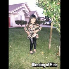 Kids clothing, kids fashion, faux leather leggings and floral shirt... www.mkt.com/blessingofmine