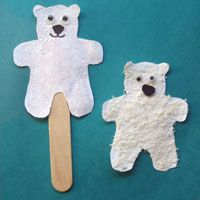Bear Stick puppets (use coffee grounds for brown bears & Panko for polar bears)