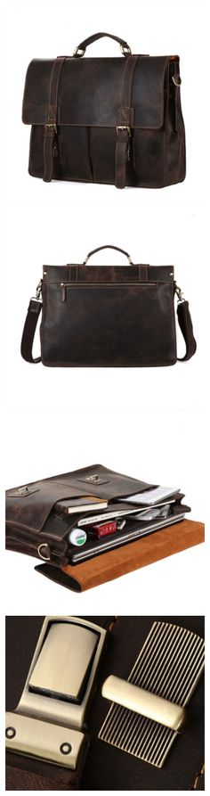 #vintage #leather #men #bag #briefcase #messenger #bag
