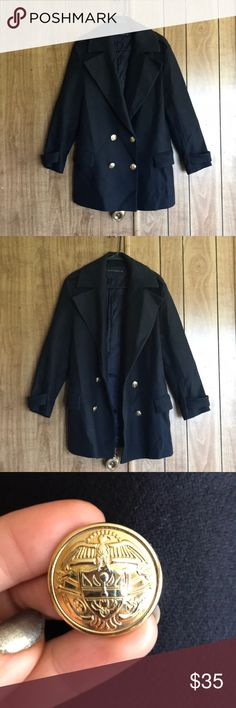 Zara Military wool coat, Navy, Large 75% wool coat, beautiful military style cut. Navy blue colour with gold coloured buttons. Coat is in good condition only worn a few times. It has been in storage so does need to be ironed.  Only selling because I have too many coats and I live somewhere without a real winter   Size Large! Zara Jackets & Coats