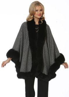 Black Fox Trimmed Houndstooth Cashmere Poncho/Cape Size OS (one size) Poncho Coat, Cape Coat, Cashmere Poncho, Cashmere Wool, Coats For Women, Jackets For Women, Winter Poncho, Cape Designs, Houndstooth