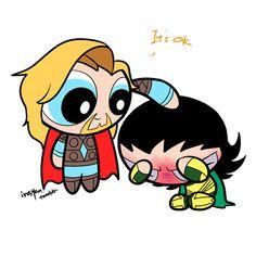 Powerpuff Thor & Powerpuff Loki (GIF)