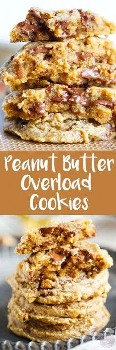 Peanut butter overload cookies are a peanut butter lovers' dream! Studded with Reese's peanut butter cups throughout, this cookie is so soft and perfect for all peanut butter and chocolate lovers!