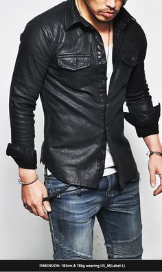 Tops :: Shirts :: Masculine Sexy Stretchy Leather Button Down-Shirt 109 - Mens Fashion Clothing For An Attractive Guy Look
