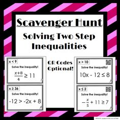Solving Two Step Inequalities Scavenger Hunt: 14 Questions to hang around the room! Recording sheet included!