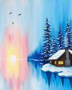 Join us for a Paint Nite event Thu Nov 2017 at 1788 south woodland blvd. Purchase your tickets online to reserve a fun night out! Easy Canvas Painting, Winter Painting, Winter Art, Diy Painting, Painting & Drawing, Canvas Art, Winter Cabin, Winter Trees, Diy Canvas
