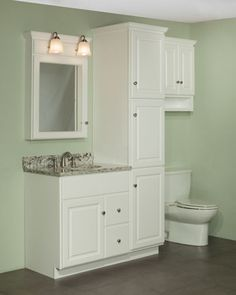"""30"""" Quentin Vanity and Linen Cabinet Ensemble. The Newport door style is shown in RTF Maple White color. Praa Sands quartz top."""