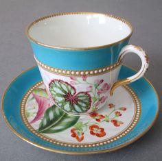 Antique ROYAL WORCESTER HP Porcelain Cup Saucer Turquoise w White Enamel JEWELS #RoyalWorcester