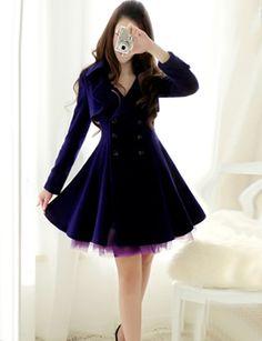 Trendy Flared Woolen with Double-Breasted For Women-fashion woolen, winter outwear, women's coat, trendy woolen