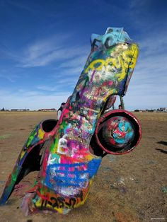 Cadillac Ranch, a quirky roadside stop near Amarillo, Texas, is a bright and fun public art installation, great for a quick stop to stretch your legs during a long road trip through Texas.