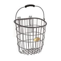 Nantucket Bicycle Basket Co. Surfside Rear Pannier Basket & Hooks, Dark Grey