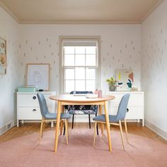 Lauren's Spare Room Makeover: Introducing Trim and Pattern Color – Design*Sponge Spare Room, House Tours, Home And Family, Upholstery, House Design, Studio Design, Loft Design, Villa, New Homes