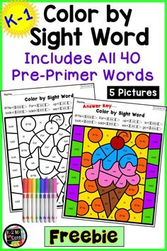 Your students will love these FREE, no-prep printable Color by Sight Word worksheets! Keep them motivated and engaged as they practice all 40 Dolch Pre-Primer words while developing fine motor skills. Pre Primer Sight Words, Dolch Sight Words, Teaching Sight Words, Sight Word Practice, Sight Word Activities, Teaching Phonics, Kindergarten Freebies, Kindergarten Reading, Kindergarten Activities