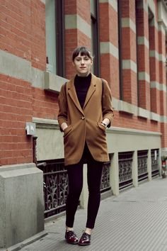 Black jeans red maroon doc Martens camel tan coat black maroon top turtleneck