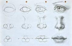 Augen, Mund und Nase zeichnen lernen-dekoking-com