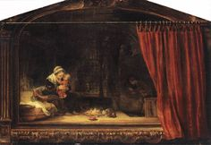 """Rembrandt, """"The Holy Family with a Curtain"""" 1646, Oil on wood, 46,5 cm x 69 cm, Staatliche Museen, Kassel"""