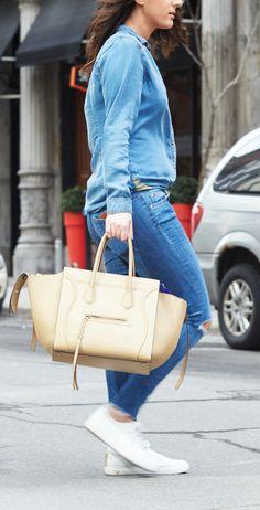 Celine Medium Phantom In Smooth Beige Calfskin Leather With Cobalt Blue Suede Interior