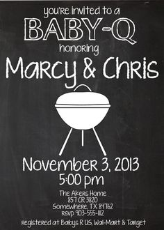 Chalkboard Baby-Q Baby Shower Couple Invitation  by MolsDesigns, $8.00 baby shower cookout baby barbecue