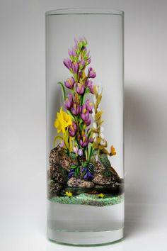 """Randall Grubb """"Garden Wall"""" flowers and rocks tall glass column glass sculpture"""
