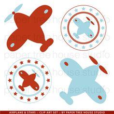 Clip Art Set aeroplanos y estrellas rojo por papertreehousestudio