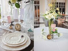 The NotWedding Athens our flowers look great with Southern Vintage decor. I love using clocks as table numbers. Holland Daze/ florals