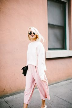 #pink #culottes #sweater #streetstyle