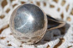 HUGE VINTAGE MODERNIST 925 STERLING SILVER ORB BALL GLOBE RING SIZE 9.75