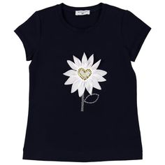 Monnalisa Girl's Navy T-Shirt with Daisy Print and Stud Detailing. Available now at www.chocolateclothing.co.uk #childrenswear #minifashion #Monnalisa #chocolateclothing