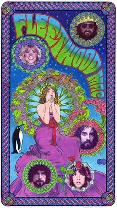 Fleetwood Mac art nouveau poster by BobMasseStudios on Etsy Rock Posters, Hippie Posters, Wall Posters, Club Poster, Poster Art, Poster Prints, Gig Poster, Collage Des Photos, Photo Wall Collage