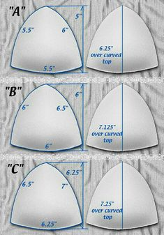 Satiny Tricot Covered Push-up Triangle Bra Cups for Bra gown swimsuit Wedding or Prom. Sew-in. White sizes A B C D DD Sewing Bras, Sewing Lingerie, Sewing Clothes, Diy Clothes, Lingerie Patterns, Dress Sewing Patterns, Clothing Patterns, Underwear Pattern, Blouse Patterns
