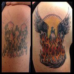 Cover Up Tattoo by Ash Cairns at LDF Tattoo Newtown , Sydney, NSW. #tattoo #sydneytattoo #coveruptattoo #ldftattoo #eagletattoo #flametattoo